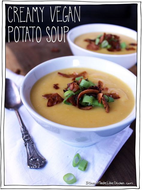 Creamy Vegan Potato Soup. This is a smooth, luscious, warming from the inside out, perfect fall soup.
