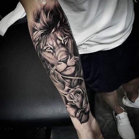 Lion Tattoos En Instagram Tattoosbychrishuff Liontattoo Liontattoos Lion Forearm Tattoos Lion Tattoo Sleeves Best Sleeve Tattoos