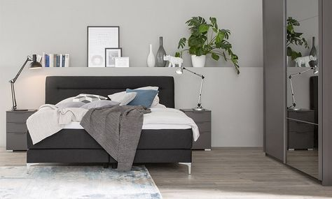 A Bedroom Furnished With A Dark Grey Divan Bed Combined With White Chest  Ofu2026 | For The Home | Pinterest | White Chests, Green Wing And Dark Grey