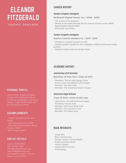 Customize 90 Graphic Design Resume Templates Online Canva