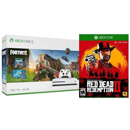 Microsoft Xbox One S Fortnite Rdr2 Bonus Bundle Red Dead Redemption 2 Battle Royale Fortnite 2 000 V Bucks Legendary Rare Eon Cosmetic Set And Xbox One S 1t Xbox One S Xbox