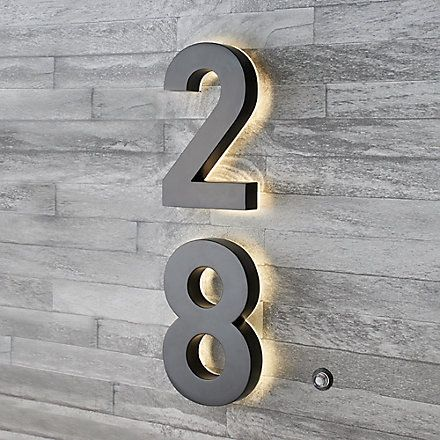 Taymor Backlit Led 6 Inch Black Metal House Number With Floating Effect The Home Depot Canada Illuminated House Numbers Metal House Numbers Led House Numbers