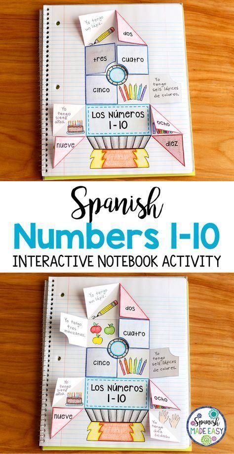 Spanish Numbers 1-10 Interactive Notebook Activity | Spanish