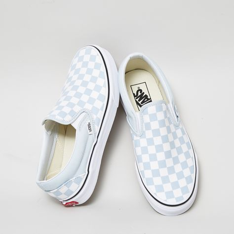 How do you feel about the latest @vans_europe Classic Slip On Trainers in Baby Blue White Checkerboard? WE LOVE THEM  Hit the link in our bio to #shop #officelovesvans #liveyourbestlife