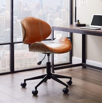 Volans Home Office Chair Modern Bentwood And Leather Upholstery
