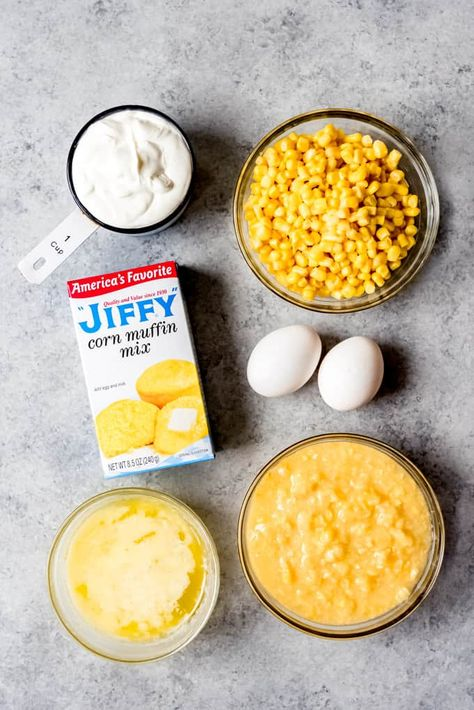 for easy Corn Casserole recipe you need a Jiffy corn muffin mix, creamed corn, sour cream, two eggs, and whole corn kernels if you do not have corn kernels ( you can use regular frozen corn) to mak… Creamy Corn Casserole, Easy Casserole Recipes, Corn Casserole With Jiffy, Corn Pudding Recipes, Corn Recipes, Sweet Corn Pudding Recipe Jiffy, Recipies, Thanksgiving Recipes, Holiday Recipes