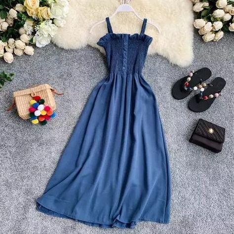 17.35US $ 40% OFF|OCEANLOVE Chic Korean Solid Women Dress Sleeveless 2020 Summer A line Chiffon Long Dresses Beach Style Button Vestidos 11746|Dresses|   - AliExpress