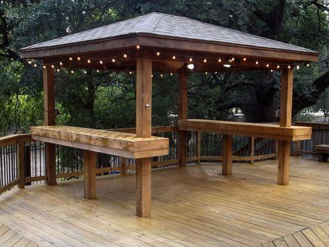 Cedar Gazebo With Bar Tops And Lighting Gazebosandgardensheds Backyard Gazebo Gazebo Bar Gazebo Lighting