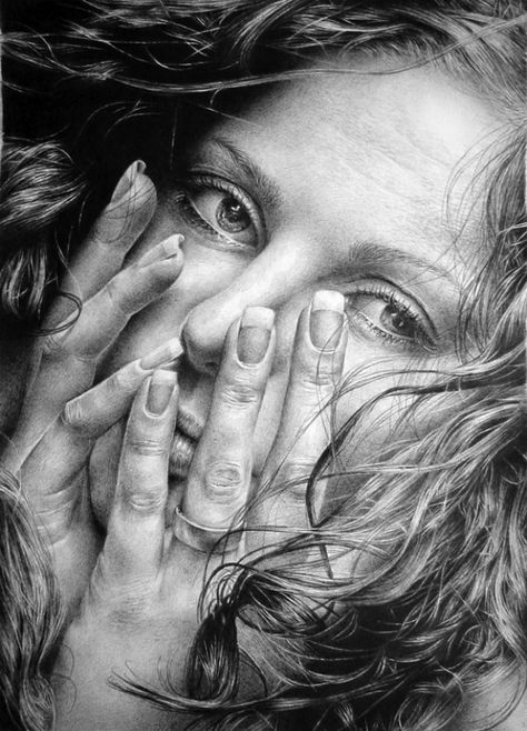 Artist: Asaria Marka, Russia {hyperreal female face portrait partially covered by hands graphite pencil drawing}