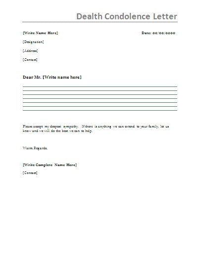 Death Sympathy Letter - Writing a condolence letter to you feels - condolence letter sample