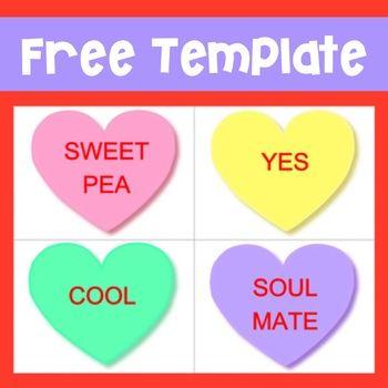Free Valentine S Day Editable Conversation Heart Flashcards Converse With Heart Free Valentine Flashcards