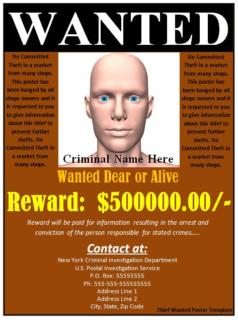 Download free FBI and Old West Wanted Poster Templates for Word - most wanted poster templates