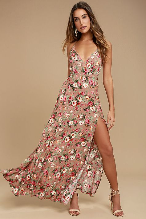 67cae13c440 Happy days never have to end now that the Everlasting Bliss Blush Floral  Print Maxi Dress has arrived! Gauzy woven rayon has an elegant pink