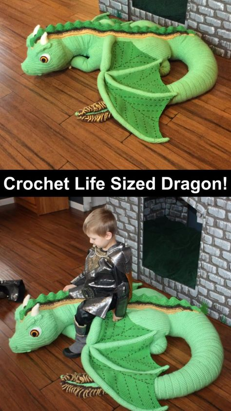 Download this crochet life size baby dragon pattern for your kids! So fun and cool for dragon lovers. Etsy find affiliate link. DIY. Crochet pattern