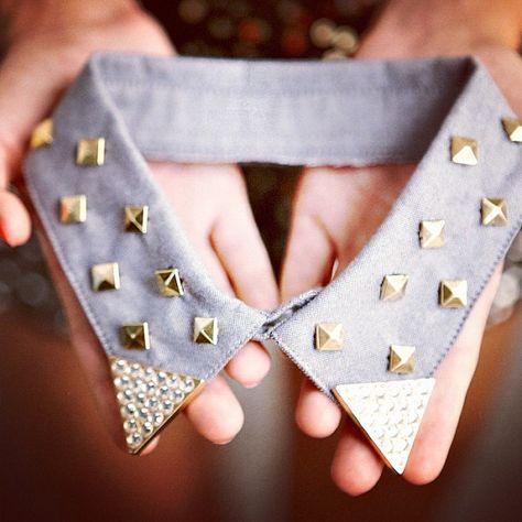 DIY studded collar. Watch at gsom.com/blog #GSOM #DIY #studs #pacsun