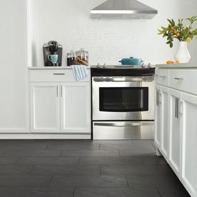 American Olean Carbon Mist Slate 12 In X 24 In Glazed Porcelain Stone Look Floor And Wall Tile Lowes Com Slate Floor Kitchen White Tile Kitchen Floor Slate Tile Floor Kitchen