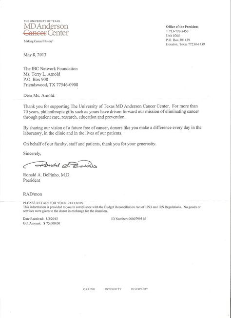 The thank you letter from Dr De Pinho regarding the $75,000 for - thank you letter for donations