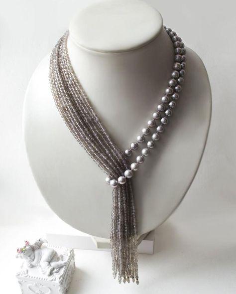 """Krawatte mit grauen Perlen und Achat """"Tropical Rain"""" – Diy Schmuck Tie with gray pearls and agate """"Tropical Rain"""" – Diy Jewelry"""
