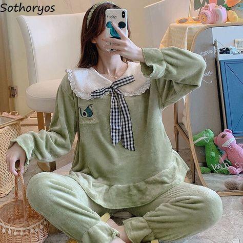 19.63US $ 5% OFF Pajama Sets Women Flannel Autumn winter New Korean style Womens Turn down Collar Pajama set Homewear Comfortable Leisure Warm Pajama Sets    - AliExpress