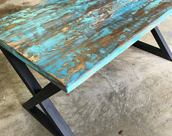 Teal Aqua Reclaimed Wood Dining Table Or Desk Reclaimed Wood Dining Table