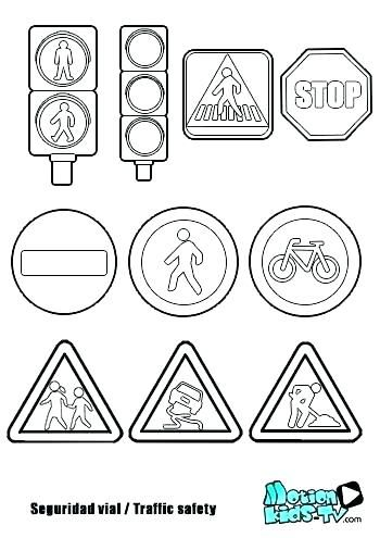 Road Safety Signs Colouring Sheets Sign Coloring Pages Printable
