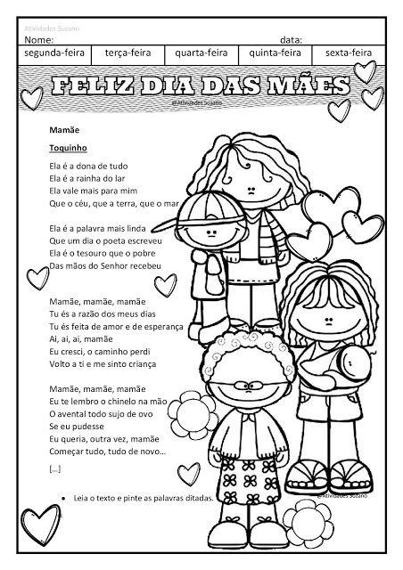 Para Mamae Cartinha E Musica Em Pdf Com Imagens Atividade Dia