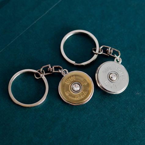 Bullet Jewelry - Bullet Keychain w/ Silver / Brass Winchester 12 Gauge Shotgun Casing via Etsy