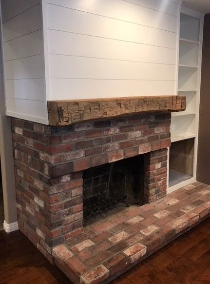 Hand Hewn Mantel On Shiplap Wood Mantels Reclaimed Wood Mantel