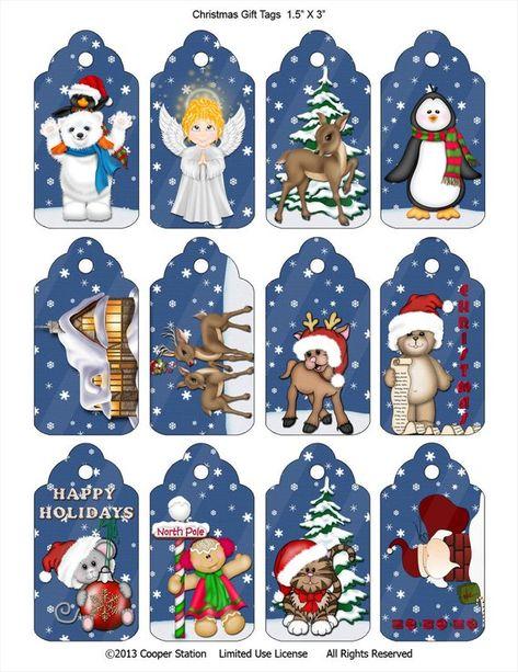 Digital Christmas Gift Tag Assortment