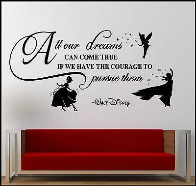 Walt Disney Dreams Courage Vinyl Removable Wall Art Sticker Home Decoration Gift