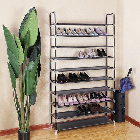 Armoire Etageres A Chaussures 10 Couches Noir 100 X 29 X 175cm Lsr10h Armoire Etagere Etagere Chaussures Etagere Tissu