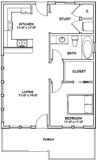 24x32 House 1 Bedroom 1 Bath Pdf Floor Plan 768 Sq Ft Model 1 Tiny House Floor Plans Small Floor Plans One Bedroom House