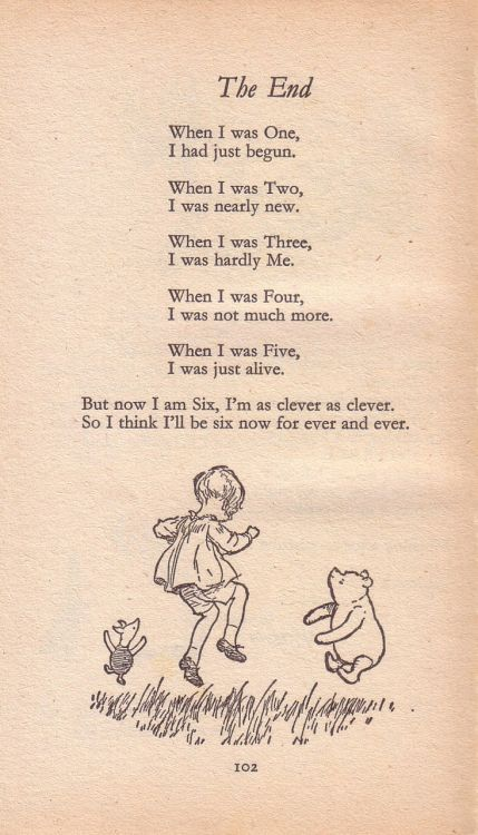 """ ""The End"" by A. A. Milne in Now We Are Six.  """