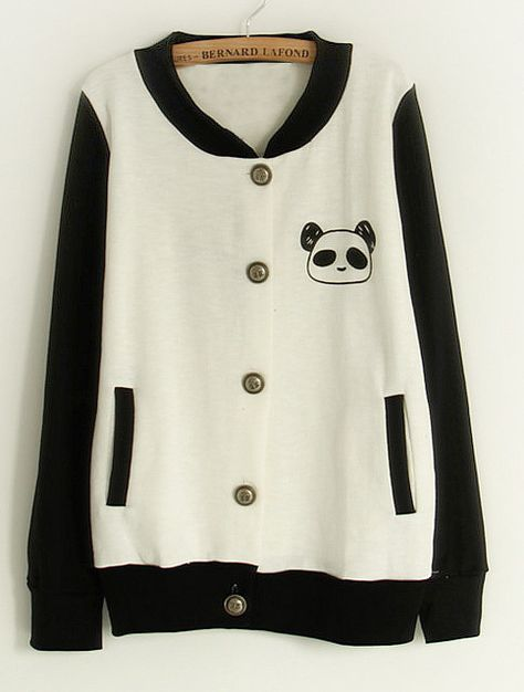 SheIn offers White Contrast Black Sleeve Panda Pocket Jacket & more to fit your fashionable needs.