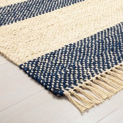9 X 12 Jute Navy Stripe Rug With Fringe Hearth Hand With Magnolia In 2020 Striped Rug Rugs Jute