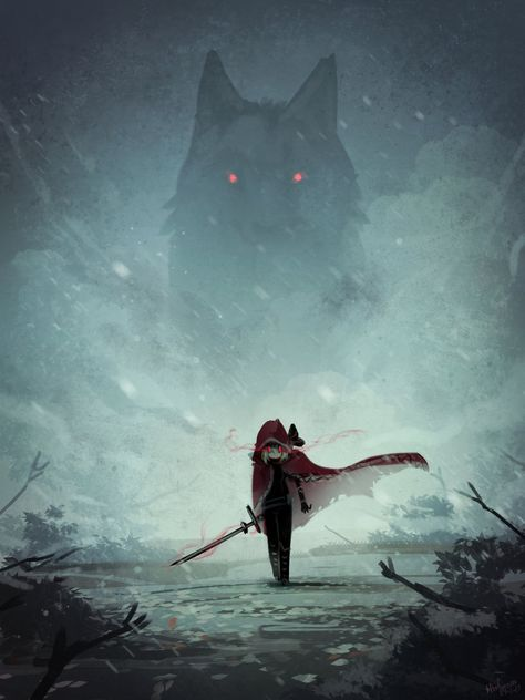 Red Hood and the Wolf This is the Entry of Drawing Contest : Red Riding Hood You could check it here Drawing Contest : Red Riding. Red Hood and the Wolf Fantasy Wolf, Dark Fantasy Art, Fantasy Artwork, Dark Art, Mythical Creatures Art, Fantasy Creatures, Bel Art, Werewolf Art, Wolf Spirit Animal