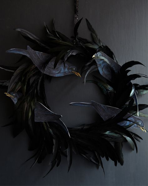 Black Feather Wreath with... THE BIRDS!: Great recipes and more at http://www.sweetpaulmag.com !! @Eva S. Paul Magazine