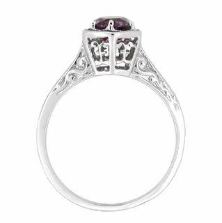 Art Deco Amethyst Engraved Filigree Engagement Ring in 14 Karat White Gold