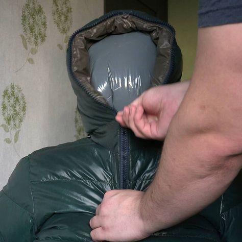 Plastic bag breathplay in Duvetica Down Breath session