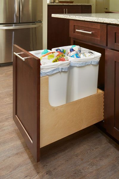 Wastebasket Cabinet Pull Out Storage For Trash Recycling Cliqstudios Kitchen Cabinets Upgrade Trash Storage Kitchen Trash Cans Under counter pull out trash can