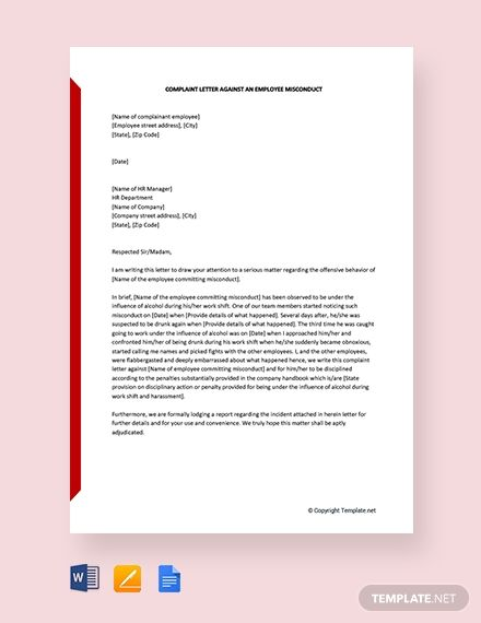 Free Complaint Letter Against An Employee Misconduct Lettering
