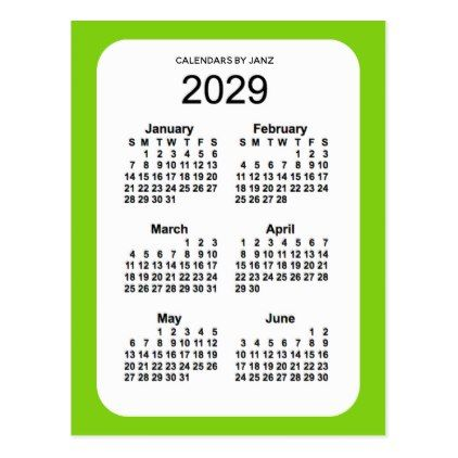 2029 Yellow Green 6 Month Mini Calendar By Janz Postcard Zazzle