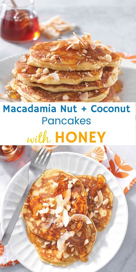 Macadamia Nut + Coconut Pancakes with Honey…so delish! Our hard-working honey bees are responsible for pollinating one-third of the global food supply, including macadamia nuts and almonds, while also benefiting coconuts. #ad
