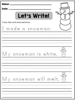 Bundle Sentence Writing Practice With Images Handwriting