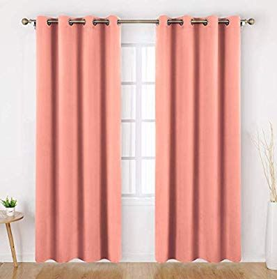 Homeideas Blackout Curtains 95 Inches Long 2 Panels Coral Room