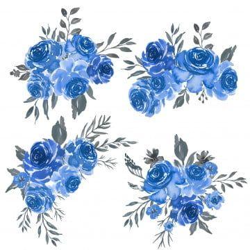 Watercolor Set Of Floral Blue Frame Arrangement Png And Vector Flower Drawing Frame Arrangement Flower Illustration