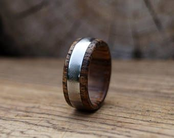 Sand Blasted Stainless Steel Ring with Bocote Wood