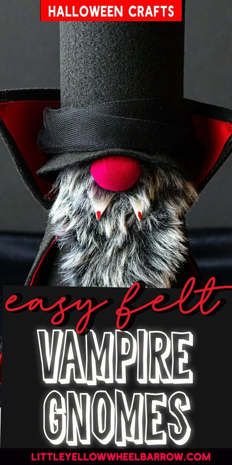 Easy Vampire Halloween Gnomes - No Sewing Required!