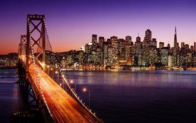 Descargar Fondos De Pantalla 4k Golden Gate Puente Rascacielos San Francisco Paisajes Nocturnos Estados Unidos América Besthqwallpapers Com Bay Bridge San Francisco San Francisco Bay Bridge