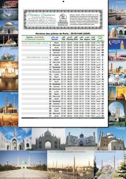 Calendrier Uoif 2021 Calendrier islamique des heures de prière 2020 (1441 1442H